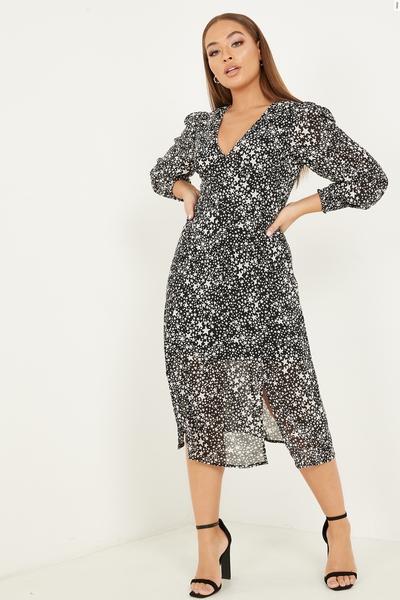 Petite Black Star Print Midi Dress